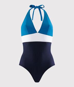 Maillot de bain 1 pièce recyclé Femme bleu Smoking / blanc Multico