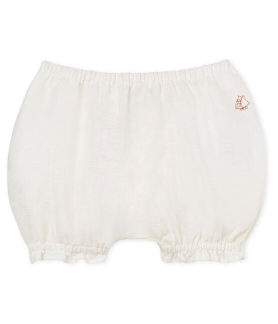 Culotte bloomer bébé fille en lin blanc Marshmallow