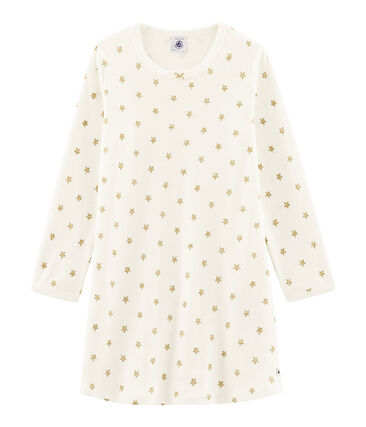 Chemise de nuit à étoiles petite fille en côte blanc Marshmallow / jaune Or