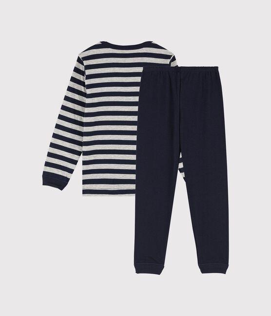 Pyjama rayé petit garçon en côte bleu Smoking / gris Beluga