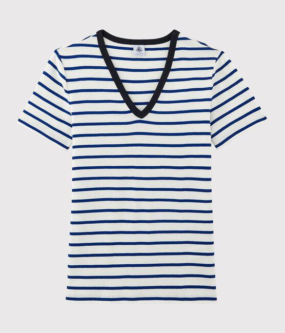 T-shirt col V iconique en coton Femme blanc Marshmallow / bleu Surf