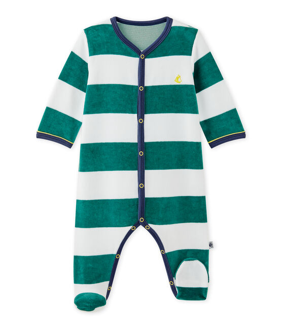 Dors bien bébé garçon en velours rayé vert Olivier / blanc Ecume