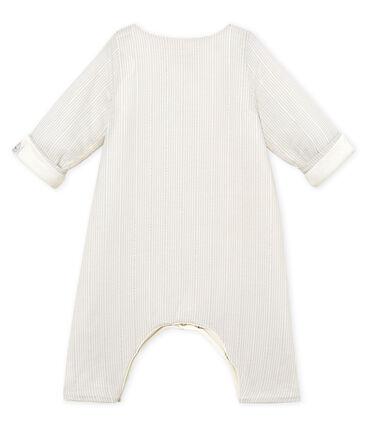 Combinaison longue bébé garçon rayée blanc Marshmallow / beige Perlin