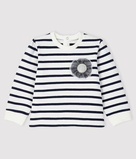 Sweatshirt iconique bébé fille blanc Marshmallow / bleu Smoking