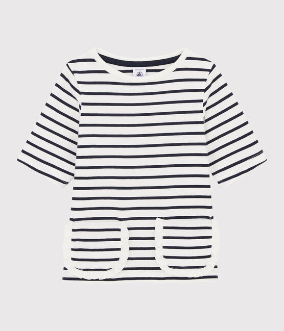 Tee-shirt rayé enfant fille blanc Marshmallow / bleu Smoking