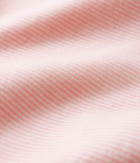 Body jambes longues à rayures bébé en laine et coton rose Charme / blanc Marshmallow