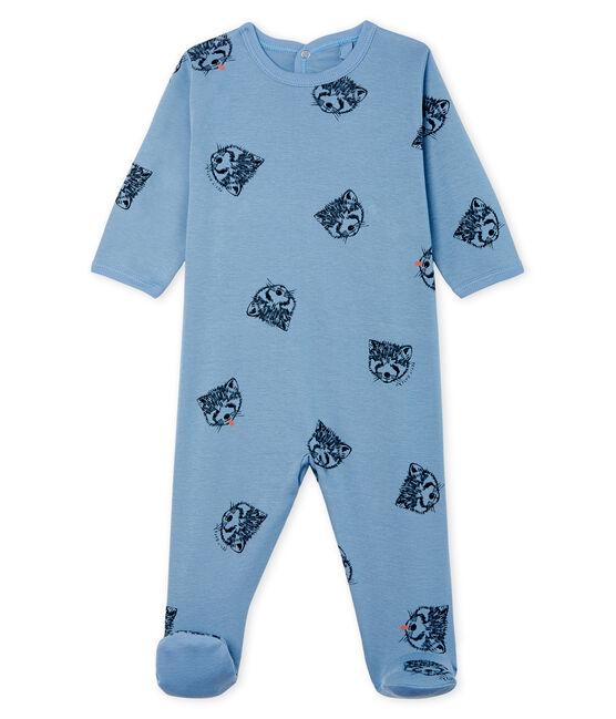Dors bien bébé garçon en côte bleu Acier / blanc Multico