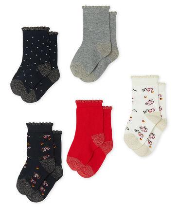 Lot de 5 paires de chaussettes bébé fille