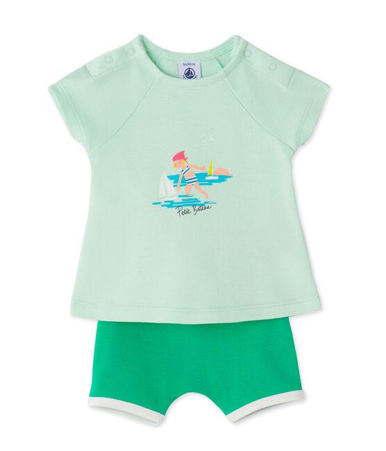 Ensemble bébé fille short et t-shirt vert Amandelium / vert Flag