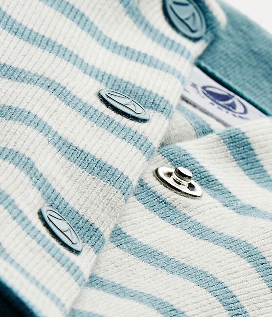 Cardigan bébé fille rayé blanc Marshmallow / bleu Mimi