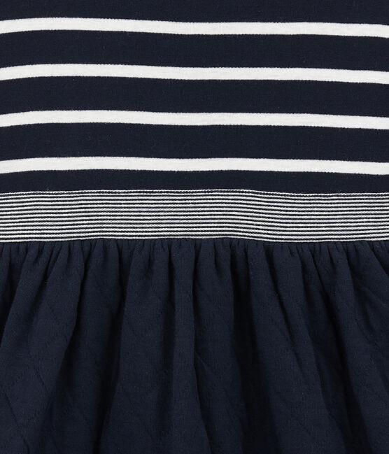 Robe enfant fille bi-matière rayée bleu Smoking / blanc Marshmallow