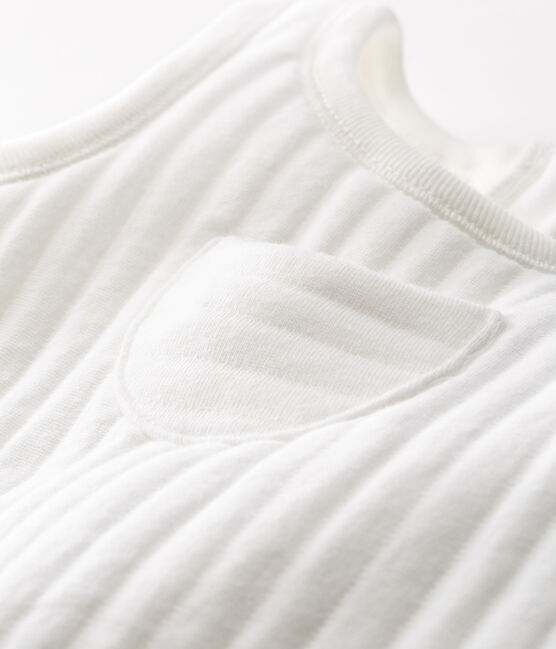 Salopette longue bébé garçon en tubique matelassé blanc Marshmallow