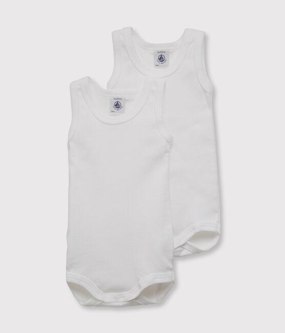 Lot de 2 bodies blancs sans manches bébé lot .