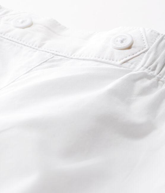 Pantalon bébé garçon de cérémonie en popeline blanc Ecume