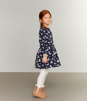 Robe imprimée enfant fille bleu Smoking / blanc Multico