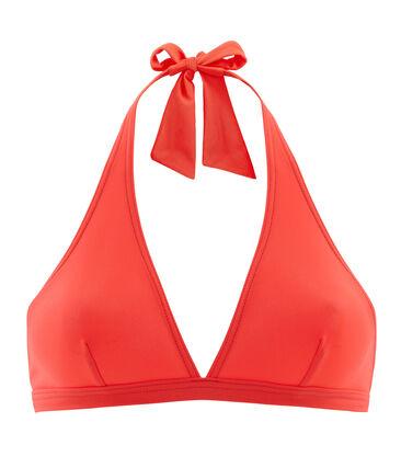 Haut de maillot de bain uni femme rose Groseiller
