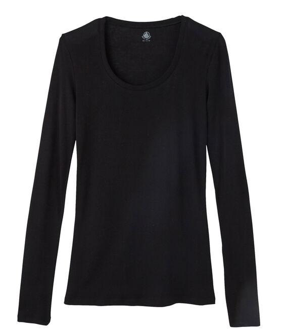 Tee shirt côte légère femme noir Noir