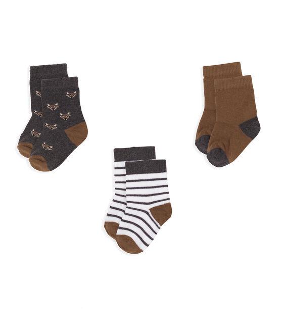 Lot de 3 paires de chaussettes bébé garçon gris City Chine
