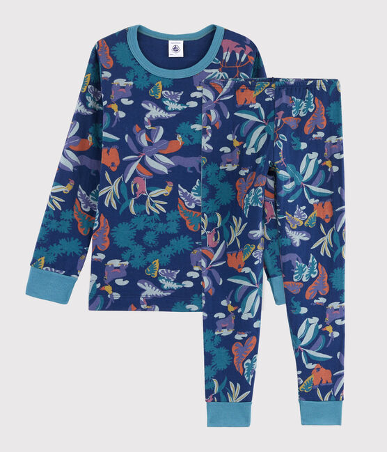 Pyjama imprimé jungle petit garçon en tubique bleu Medieval / blanc Multico