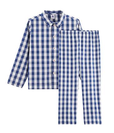 Pyjama petit garçon en twill bleu Medieval / blanc Marshmallow