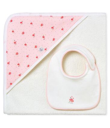 Coffret carré de bain et bavoir bébé fille