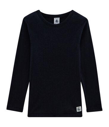 Tee-shirt manches longues enfant en coton laine soie bleu Smoking