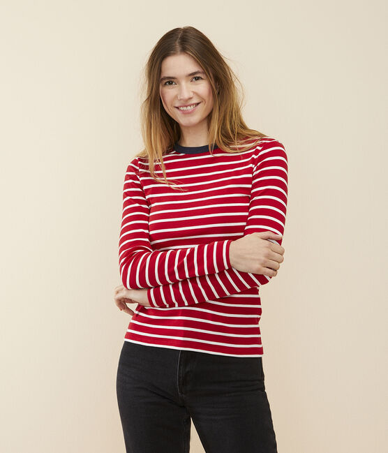T-shirt iconique col rond Femme rouge Terkuit / blanc Marshmallow