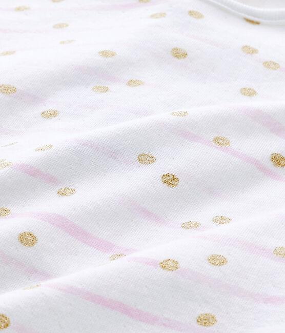 Dors bien bébé fille en tubique rayé blanc Ecume / rose Rose