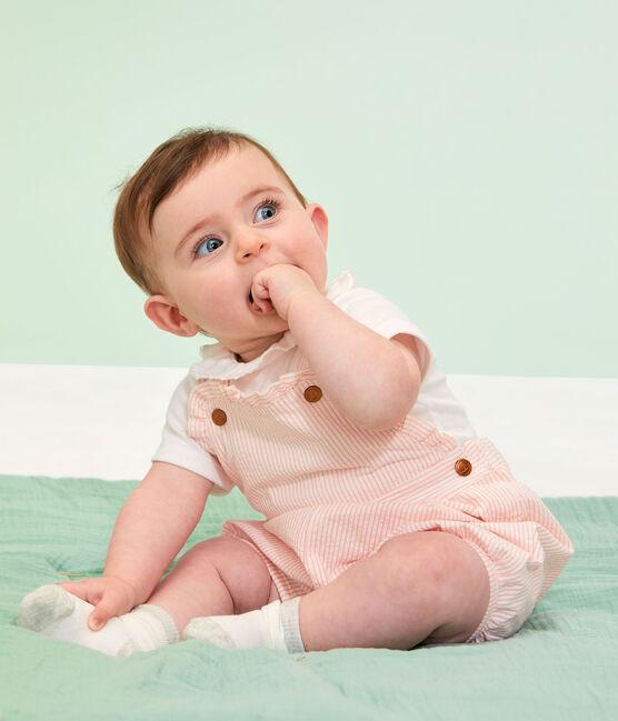 Salopette courte bébé fille rayée rose Rosako / blanc Marshmallow