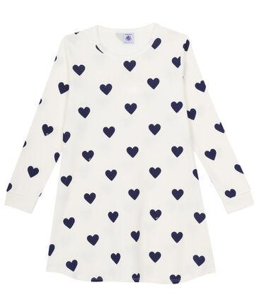 Chemise de nuit fille en côte blanc Marshmallow / bleu Medieval