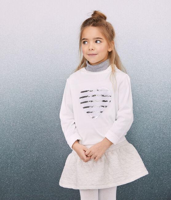 Tee-shirt à capuche enfant fille blanc Marshmallow