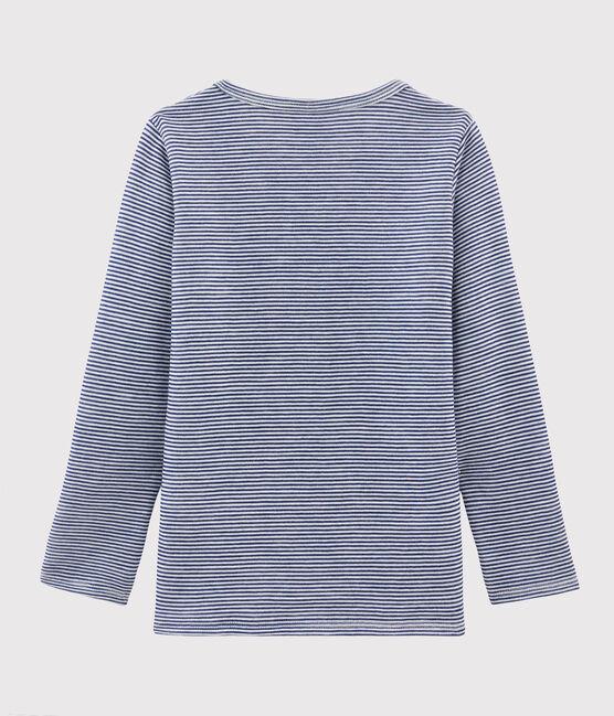 Tee-shirt manches longues enfant milleraies en laine et coton bleu Medieval / blanc Marshmallow