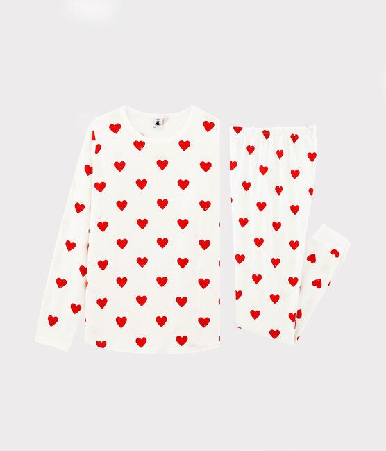 Pyjama cœur rouge fille-femme en coton biologique blanc Marshmallow / rouge Terkuit
