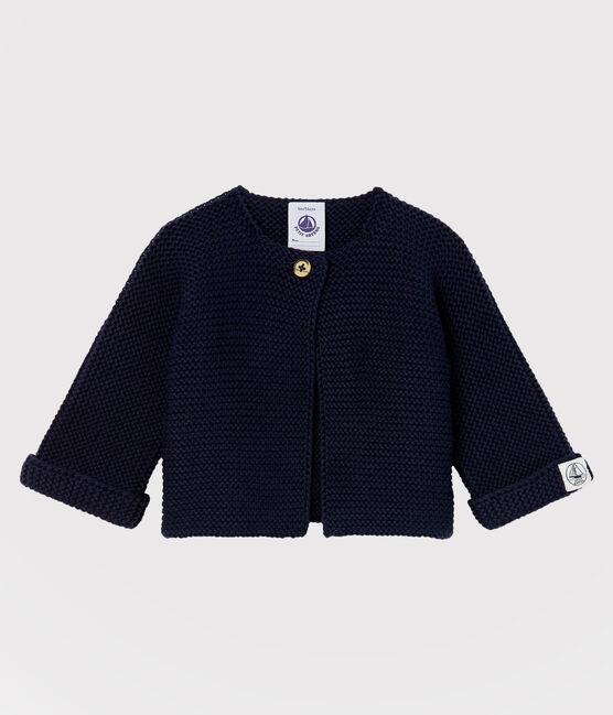 Cardigan bébé en tricot de coton biologique bleu Smoking