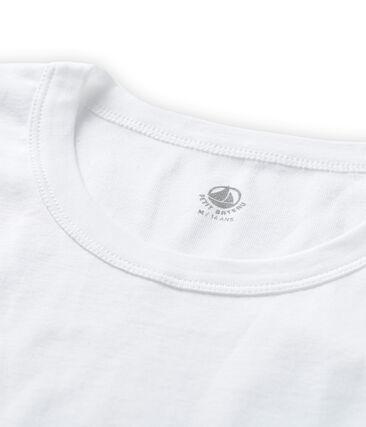 Tee shirt manches courtes iconique en côte originale 100% coton. blanc Ecume