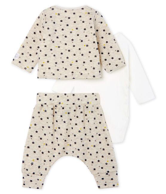 Ensemble trois pièces bébé garçon en laine et coton beige Montelimar / blanc Multico