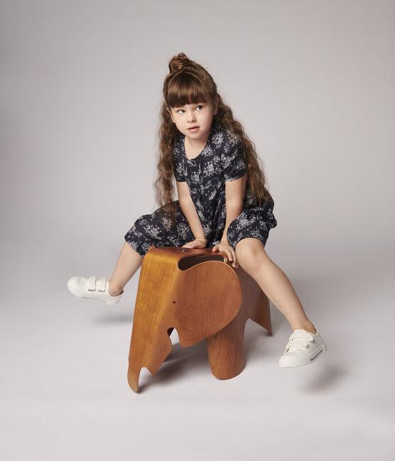 Robe manches courtes en tubique enfant fille bleu Smoking / blanc Ecume