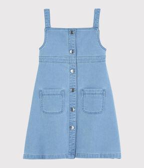 Robe salopette en molleton denim enfant fille bleu Denim clair