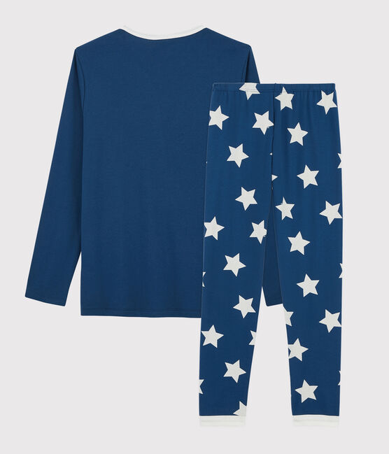 Pyjama à étoiles mixte en côte bleu Major / blanc Ecume