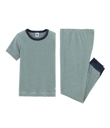 Pyjama à manches courtes petit garçon en côte vert Pinede / blanc Marshmallow