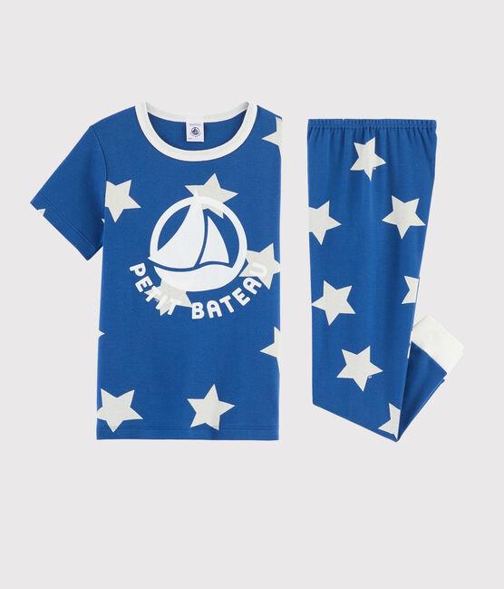 Pyjama enfant imprimé étoiles en côte bleu Major / blanc Ecume
