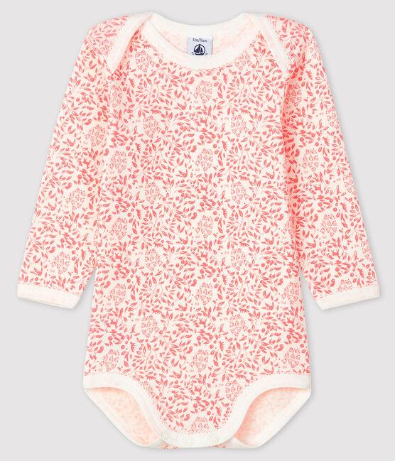 Body manches longues bébé fille blanc Marshmallow / rose Gretel