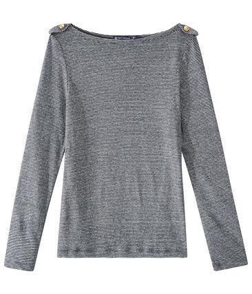 T-shirt femme manches longues en lin rayé