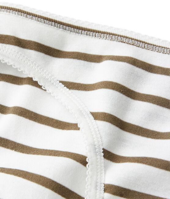 Culotte femme en coton à rayures blanc Lait / vert Litop