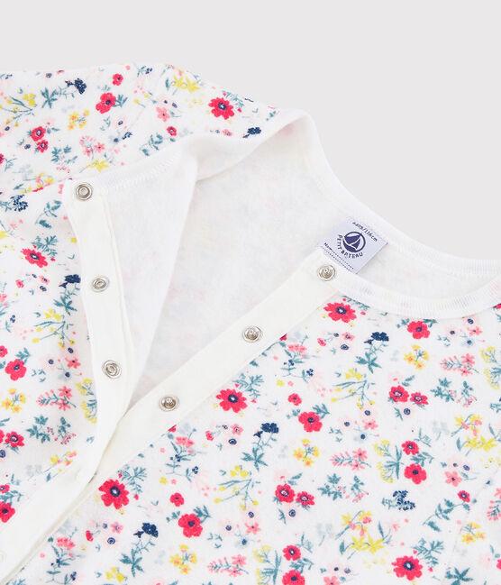 Combinaison à fleurs petite fille en bouclette éponge grattée blanc Marshmallow / blanc Multico