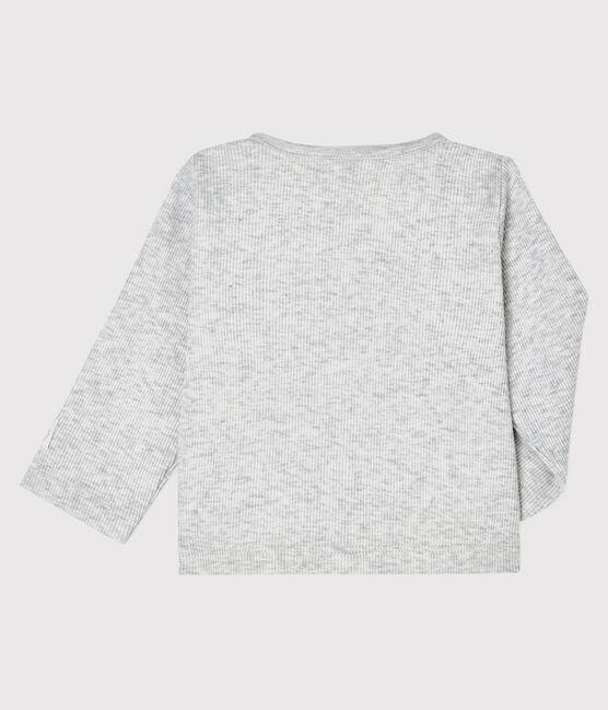 Cardigan bébé en côte 2x2 gris Beluga