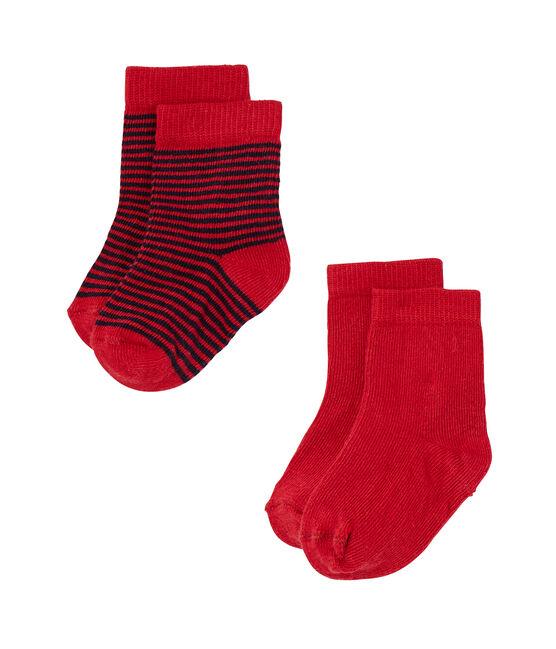 Lot de 2 paires de chaussettes bébé unies + rayées lot .