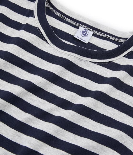 Tee shirt manches courtes iconique femme bleu Smoking / gris Beluga