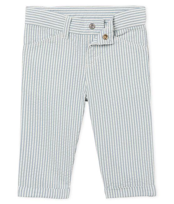 Pantalon bébé garçon rayé bleu Fontaine / blanc Marshmallow