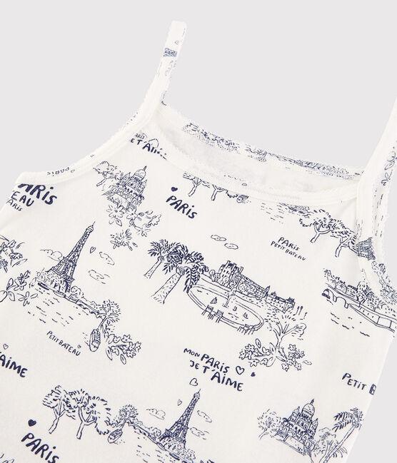 Chemise à bretelles en coton imprimé Femme blanc Marshmallow / bleu Medieval